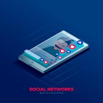 Fondo de redes sociales en estilo isométrico.