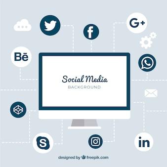 Fondo de redes sociales plano con ordenador