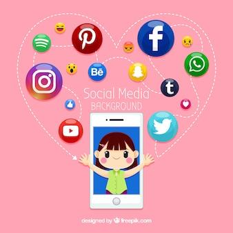Fondo de redes sociales plano con teléfono móvil
