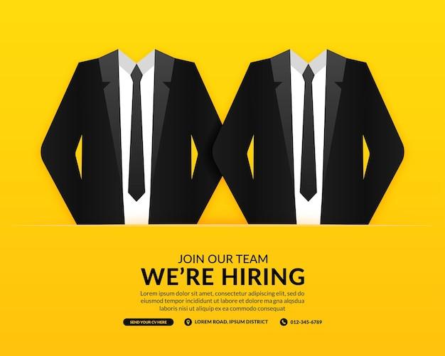 Fondo de redes sociales de vacantes de trabajo mínimo, estamos hring banner con concepto de traje de empresario