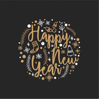 Fondo redondo con elementos dibujados a mano para año nuevo