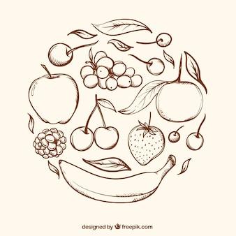 Fondo redondo con frutas dibujadas a mano