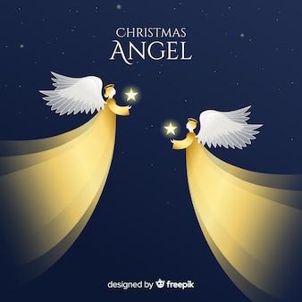 Fondo con reflejos de ángel de navidad