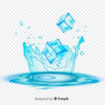 Fondo refrescante de cubos de hielo