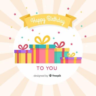 Fondo regalos cumpleaños planos