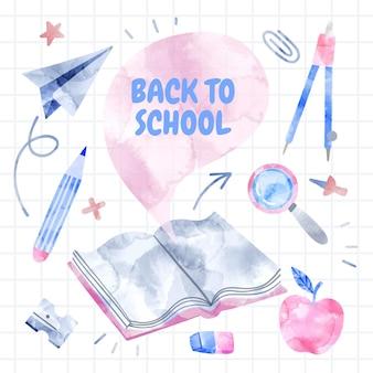 Fondo de regreso a la escuela en acuarela