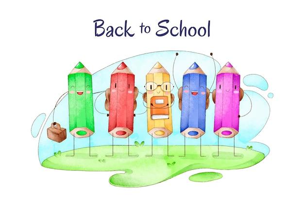 Fondo de regreso a la escuela de acuarela