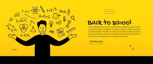 Fondo de regreso a la escuela, concepto de educación con iconos de contorno