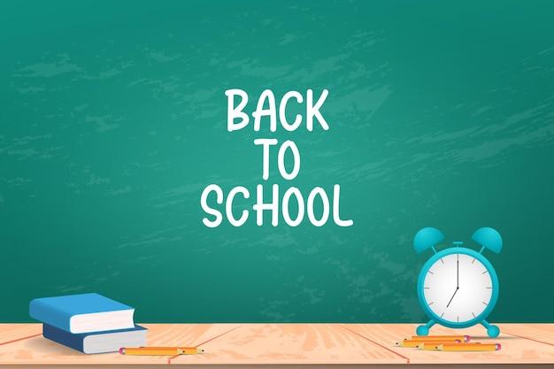 Fondo de regreso a la escuela con libro y lápiz sobre pizarra