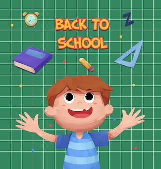 Fondo de regreso a la escuela con lindo personaje de niños acuarela