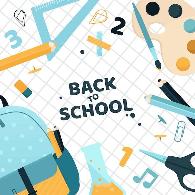 Fondo de regreso a la escuela con lindos colores de papelería. ilustración.
