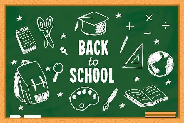 Fondo de regreso a la escuela con pizarra