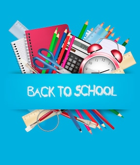 Fondo de regreso a la escuela con útiles escolares. vector.