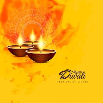 Fondo religioso abstracto feliz diwali amarillo