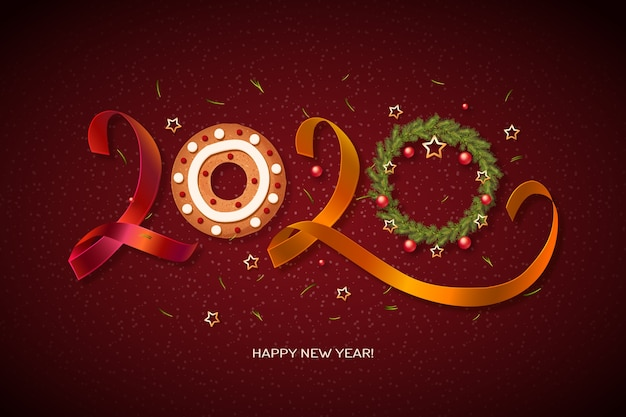 Fondo de reloj de año nuevo 2020
