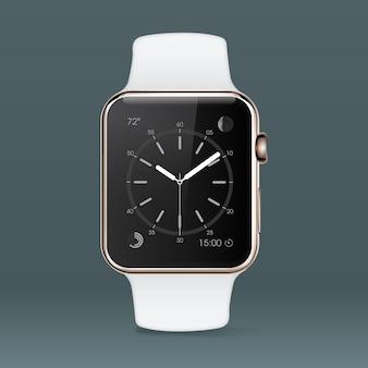 Fondo con reloj inteligente blanco