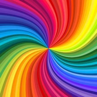 Fondo de remolino de colores vivos del arco iris girando hacia el centro. ilustración