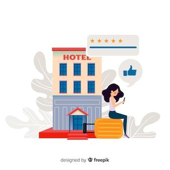 Fondo reseña de hotel plano