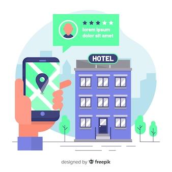 Fondo reserva de hotel bocadillo plano