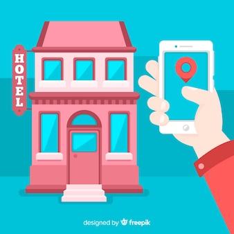 Fondo reserva de hotel mano sosteniendo móvil