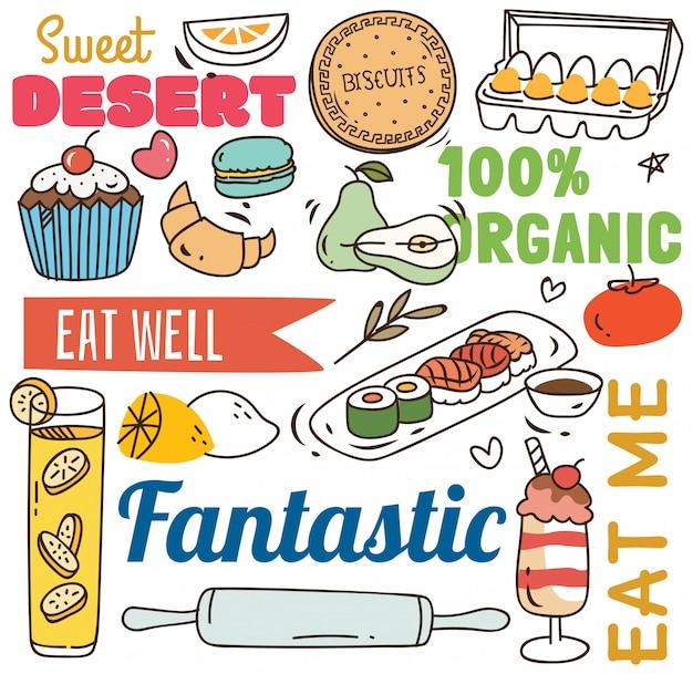 Fondo del restaurante con diversos alimentos en estilo doodle.