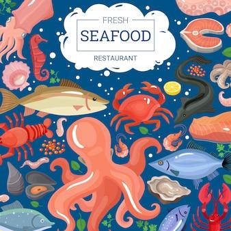 Fondo de restaurante de mariscos frescos