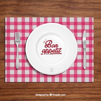 Fondo de restaurante con plato y cubiertos