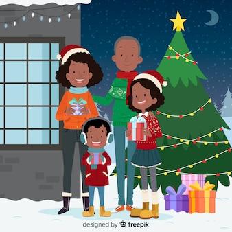 Fondo retrato familiar navideño dibujado a mano
