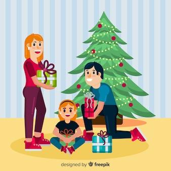 Fondo retrato familiar navideño