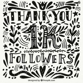 Fondo retro de 1k de seguidores con flores y hojas