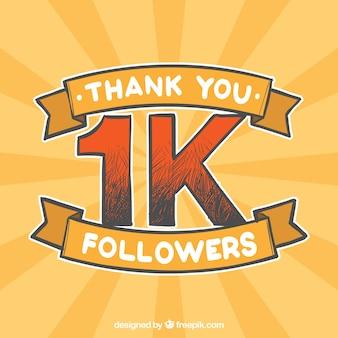 Fondo retro de 1k de seguidores