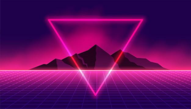 Fondo retro de los 80 con triángulo de neón y montaña.