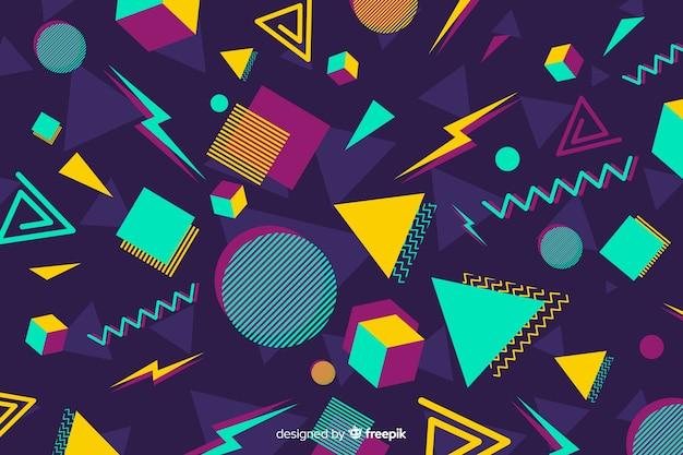 Fondo retro colorido con formas geométricas