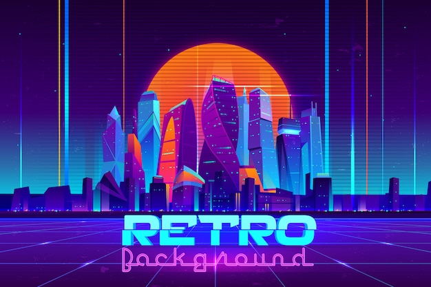 Fondo retro en dibujos animados de colores neón con edificios de rascacielos de la ciudad iluminada futura