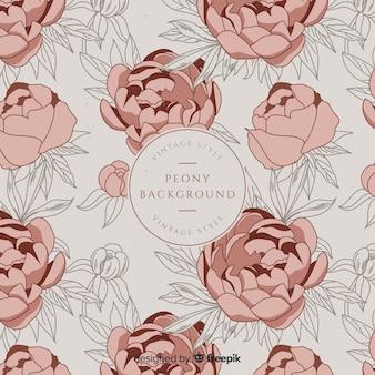 Fondo retro de flores peonía