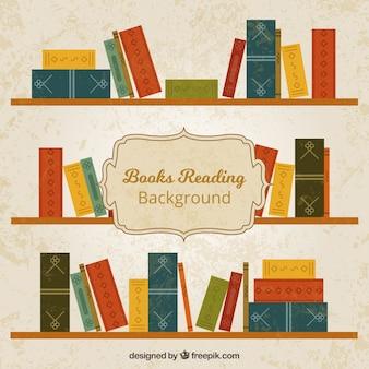 Fondo retro de libros en estanterías