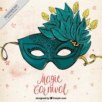 Fondo retro de máscara elegante con plumas dibujada a mano