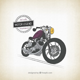 Fondo retro de moto dibujada a mano