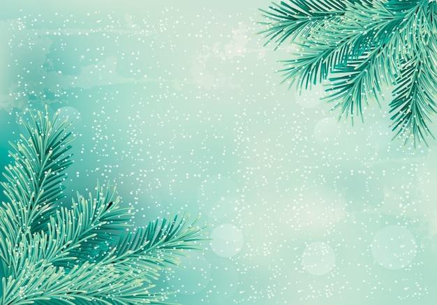 Fondo retro de navidad con ramas de árboles de navidad.