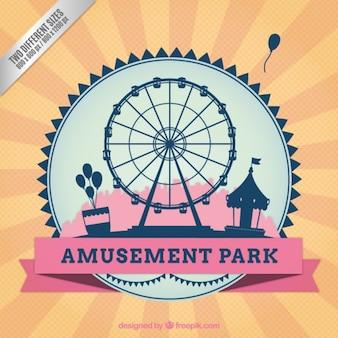 Fondo retro de parque de atracciones