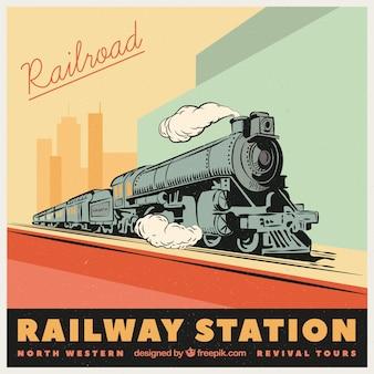 Fondo retro de tren dibujado a mano