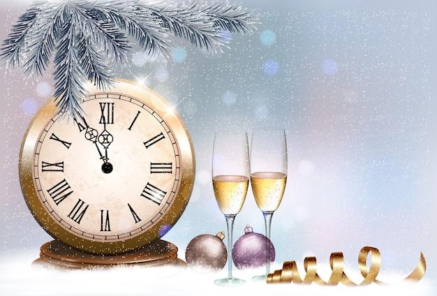 Fondo retro de vacaciones con copas de champán y reloj. feliz año nuevo.