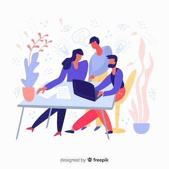 Fondo reunión equipo de trabajo dibujado a mano