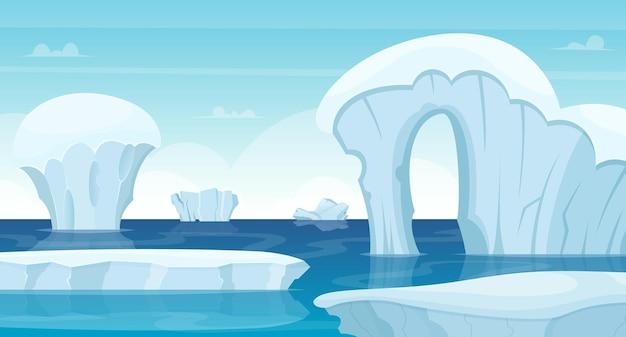 Fondo de rocas de hielo. iceberg blanco del paisaje del polo norte en concepto de viaje al aire libre frío del invierno del océano.