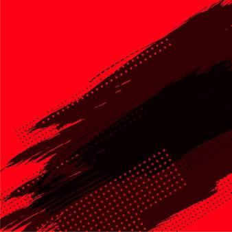 Fondo rojo abstracto con grunge negro y semitono