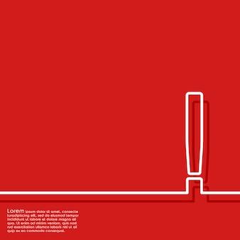 Fondo rojo abstracto con signo de exclamación
