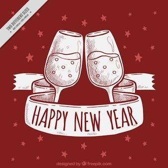 Fondo rojo de año nuevo con brindis y cinta dibujados a mano