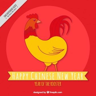 Fondo rojo de año nuevo chino con un gallo dibujado a mano