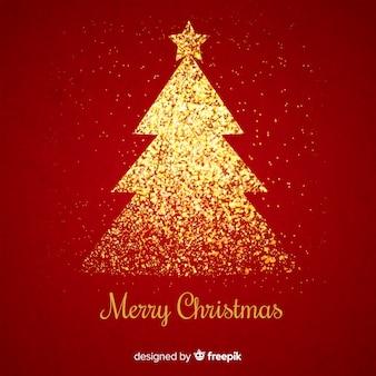Fondo rojo con árbol de navidad en purpurina dorada