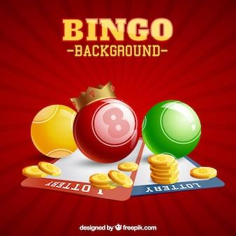 Fondo rojo con bolas del bingo y monedas